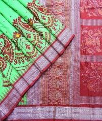 Parrot green and red handwoven fancy silk saree
