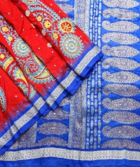 Red and blue handwoven fancy silk saree