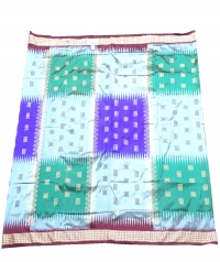 Sky, green, violet and  caput mortuum handwoven polyster and silk mix saree