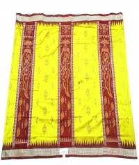 Yellow and maroon  handwoven polyster and silk mix saree