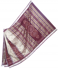 Gray and bulgerian rose handwoven polyster and silk mix saree