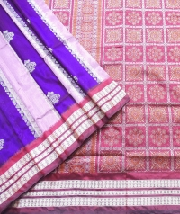 Amaranth pink, violet and maroon  handwoven polyster and silk mix saree
