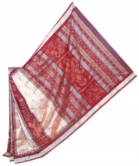 Gray and maroon  handwoven polyster and silk mix saree