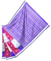 Magenta, violet and gray handwoven polyster and silk mix saree