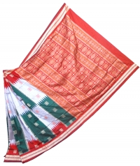 Red, green and gray handwoven polyster and silk mix saree