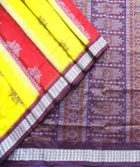 Maroon and yellow handwoven polyster and silk mix saree