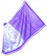 Violet and pale lilac  handwoven polyster and silk mix saree