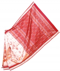 Light cantaloupe and maroon handwoven polyster and silk mix saree