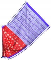 Maroon and violet  handwoven polyster and silk mix saree