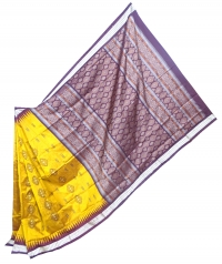 Yellow and coffee handwoven polyster and silk mix saree