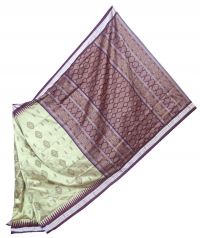 Thunder gray and coffee handwoven polyster and silk mix saree
