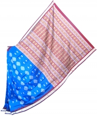 Blue and maroon handwoven polyster and silk mix saree
