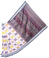 White and black handwoven sambalpuri aswini ikat saree