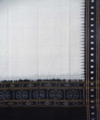 White and black sambalpuri handloom cotton dupatta