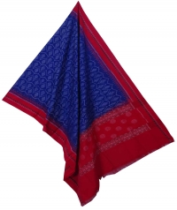 Blue red sambalpuri handloom cotton dupatta