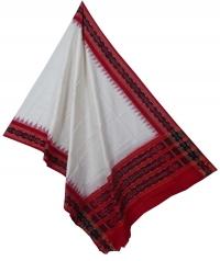 White red sambalpuri handloom cotton dupatta