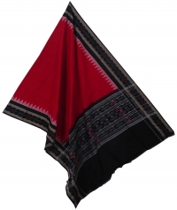 Red black sambalpuri handloom cotton dupatta