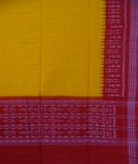 Yellow red sambalpuri handloom cotton dupatta