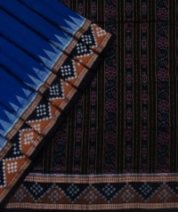 Navy blue black sambalpuri handloom bomkai cotton saree