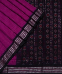 Magenta black sambalpuri handloom cotton bomkai saree