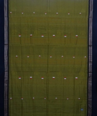 Olive green black dongria handloom cotton saree