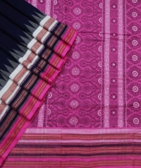 Navy blue pink sambalpuri handloom cotton bomkai saree