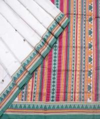 White dongria handloom cotton saree