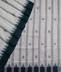Off white green kotpad handloom saree