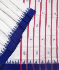 Off white blue kotpad handloom saree