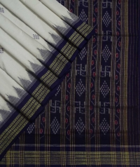 White violet sambalpuri handloom bomkai cotton saree