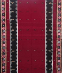 Maroon black sambalpuri handloom bomkai cotton saree