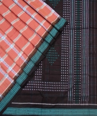 Melon orange black sambalpuri handloom bomkai cotton saree