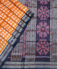 Tangerine orange and black khandua silk saree