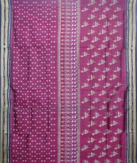 Mulberry and black khandua silk saree