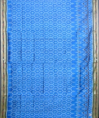 Azure blue and black khandua silk saree