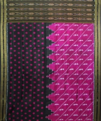 Jam and black  khandua silk saree
