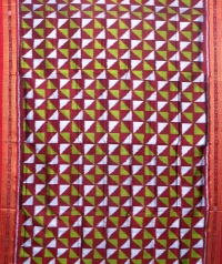 Maroon and lime green khandua silk saree