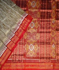 Sage green and maroon  khandua silk saree