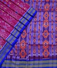 Magenta  andegyptian blue khandua silk saree
