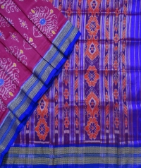 Magenta  and egyptian blue khandua silk saree