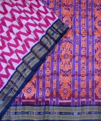 Pink and egyptian blue khandua silk saree