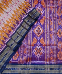Orange and violet  khandua silk saree