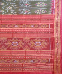 Olive and red khandua silk saree