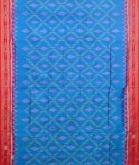 Azure blue and red  khandua silk saree