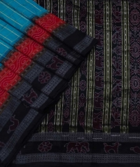 Turquoise blue and black sambalpuri silk saree
