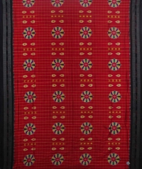 Red and black  sambalpuri silk saree