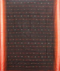Black and orange sambalpuri silk saree