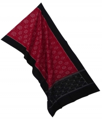 Maroon black sambalpuri handloom cotton stole