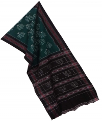 Green black sambalpuri handloom cotton stole