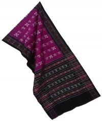 Purple black sambalpuri handloom cotton stole